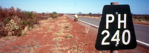 Kilometres to the next town
