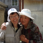 A hug, Claire and Tibetan woman