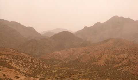 Arid mountains.