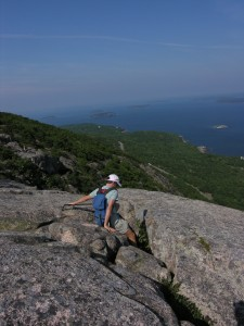 Claire Rogers beginning the descent of the Precipice Trail