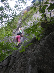 Climbers on the Precipice Trail in Acadia National Park