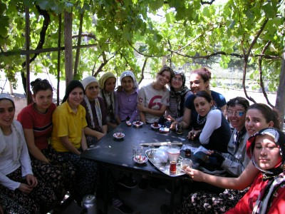 Tea in Turkey with the girls who turn silkworm casings on hot days. This day was 40C.