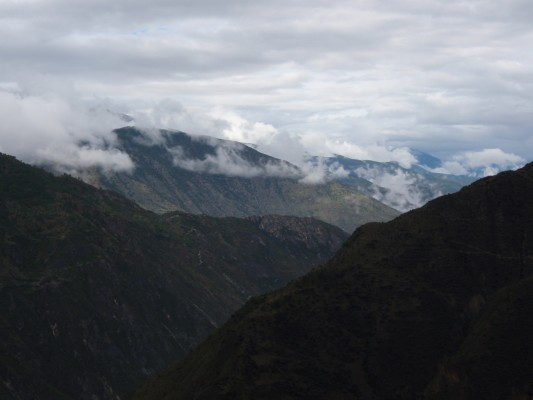 China's mountains cloaked in mist and clouds
