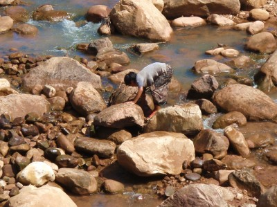 Woman and Mountain Stream
