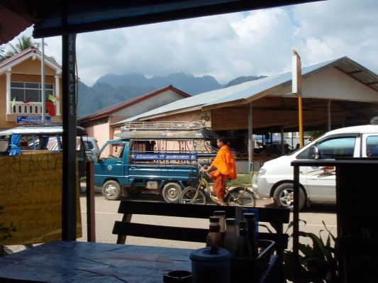 Monk on a Bicycle in Laos