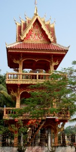 Drum Tower at Wat in Laos