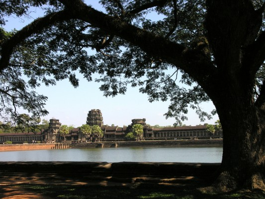 Ankor Wat over the moat