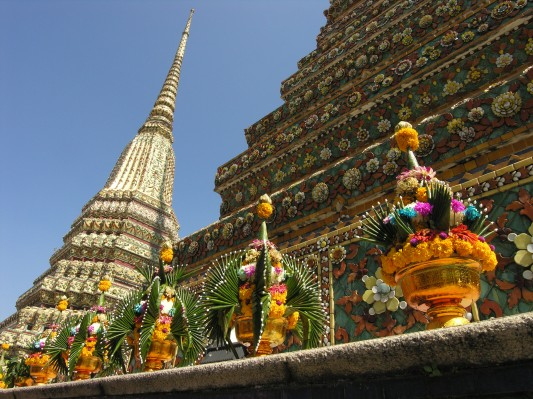 Stupas and Offerings in Bangkok