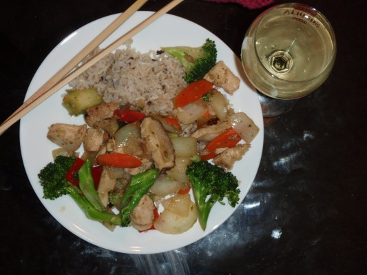 Stir fry with ginger, garlic and mushrooms.