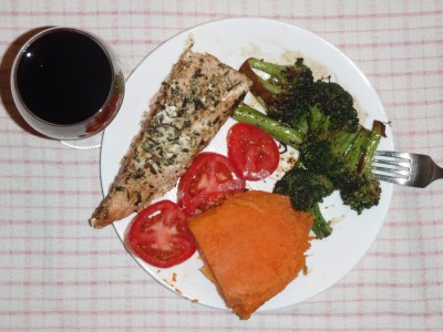 Thanksgiving Dinner 2: Salmon, yam and broccoli.