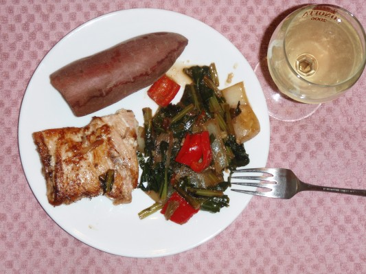 Collards Greens, salmon, yam dinner