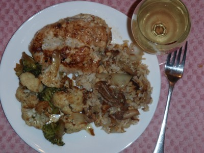 Thanksgiving Dinner Pilaf, Vegetables and Chicken Breast