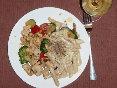 Leftover Chicken Breast, Mixed Vegetables, Pasta and Sauce