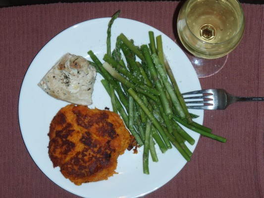 Yam Patties and Asparagus 