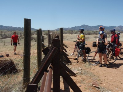 Cyclists at Border Barrier