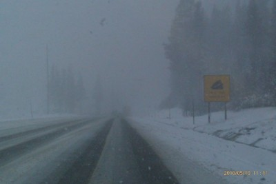 Turtle Crosses Donner Pass; Snow