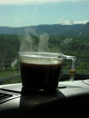 morning coffee in a British Columbia boondock