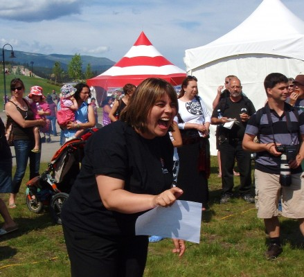 A bannock winner at Whitehorse First Nations Day celebrations.