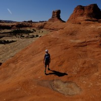 Claire hiking in Needles District of Canyonlands