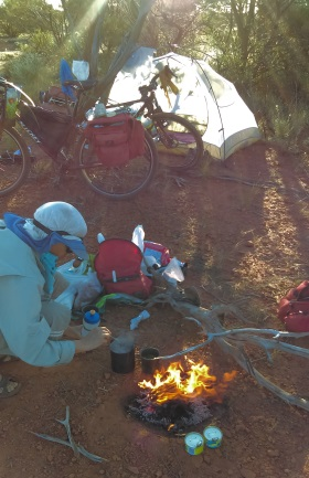 We spend a lot of time making and drinking tea, and cooking. Never get tired of our bush camps