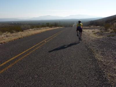 Claire riding toward Mexico