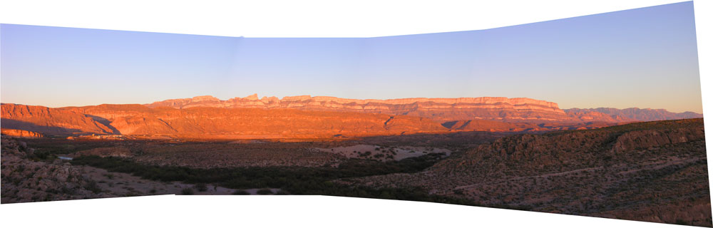 Panorama of the Rio Grande River Valley at Boquillas and Big Bend NP
