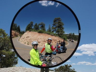Greeting motorcycle friends on a hairpin turn at Grand Canyon North