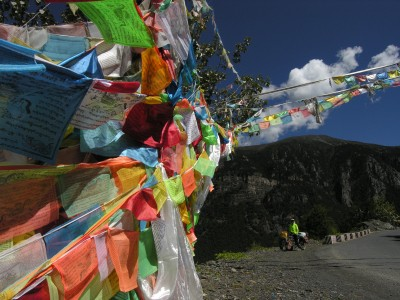Prayer flags and bicycle