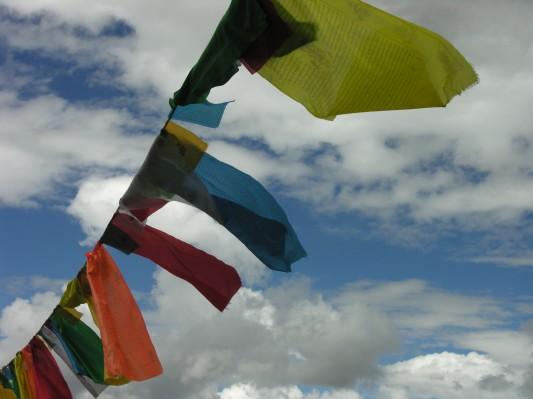 prayer flags in tibet