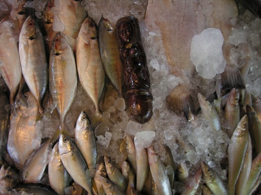Fertility Linga Among the Fish at a Neighborhood Market in Bangkoki