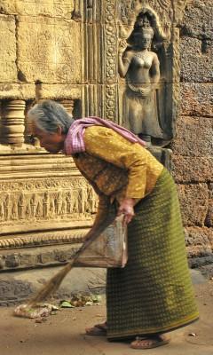 Temple woman in Cambodia