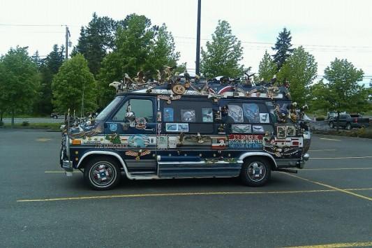 The Eagle Van, decorated RV van in Bellingham, WA.